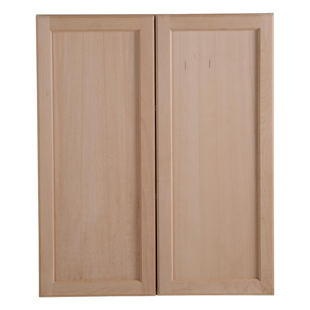 Great Hampton Bay Easthaven Assembled 30x36x12.62 In. Wall Cabinet In Unfinished  German Beech