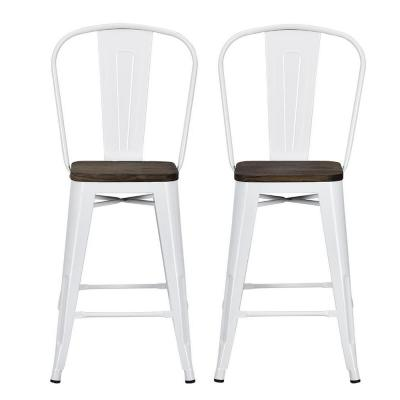 Lena 24 in. White Metal Counter Stool with Wood Seat (Set of 2)