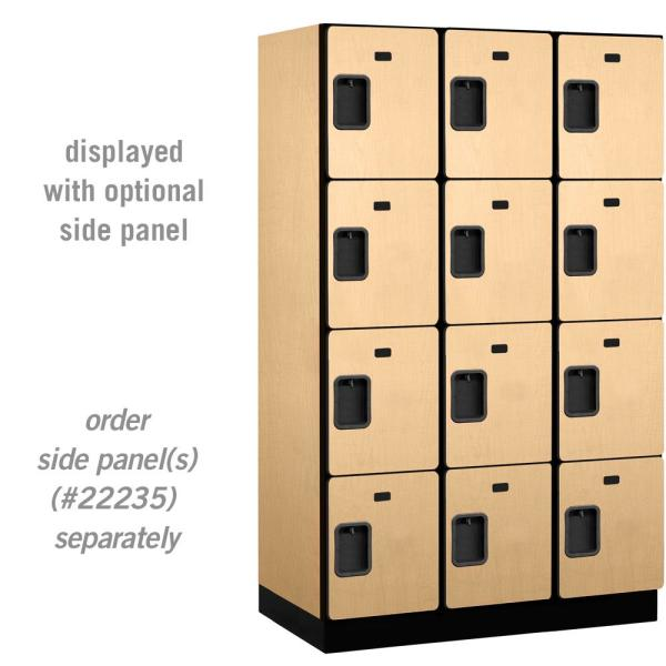 24000 Series 4 Tier 21 in. D 12 Compartments Extra Wide Designer Wood Locker in Maple