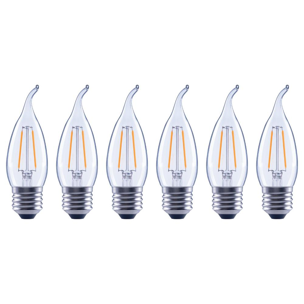 Lighting Science 25 Watt Equivalent B11 Flame Tip E26 Base Dimmable Clear Gl Filament Led Light Bulb Daylight 6 Pack