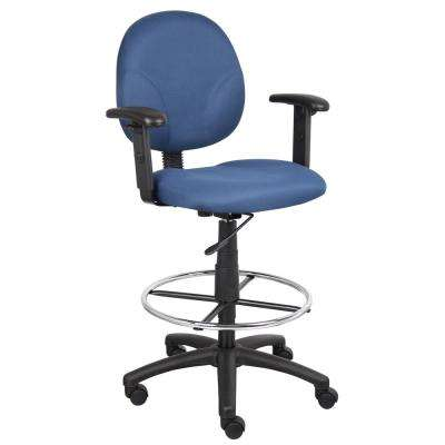 Blue Fabric Drafting Stools with Adjust Arms and Foot-Ring