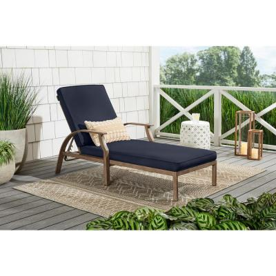 Geneva Brown Wicker Outdoor Patio Chaise Lounge with CushionGuard Midnight Navy Blue Cushions