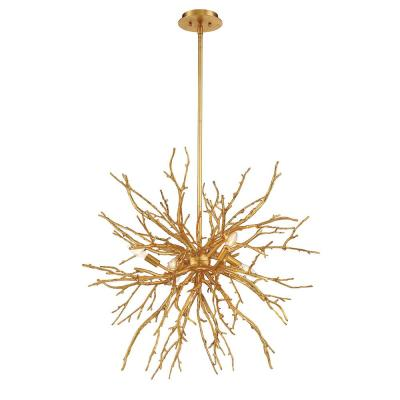 Aberdeen 6-Light Gold Leaf Chandelier with Branch Accents Shade
