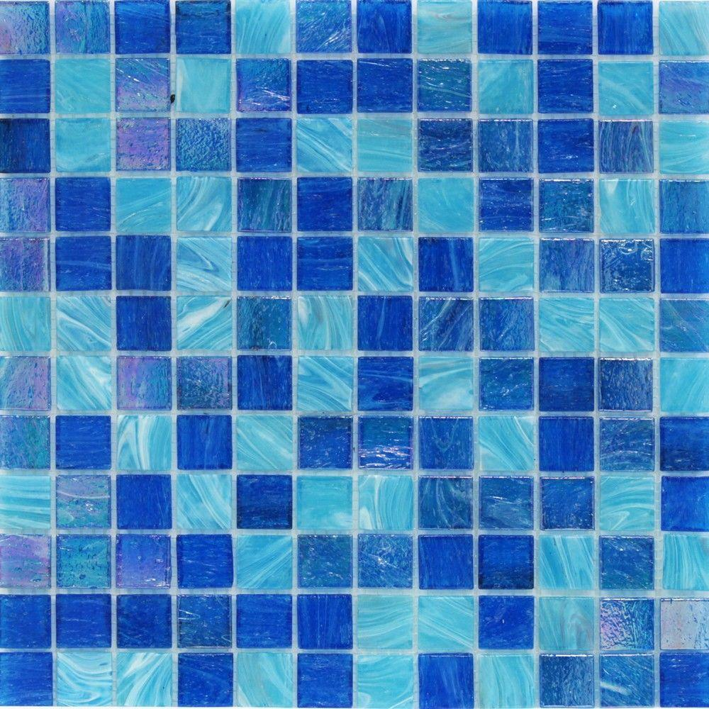 Splashback Tile Aqua Blue Ocean Mesh-Mounted Squares Glass Floor and ...