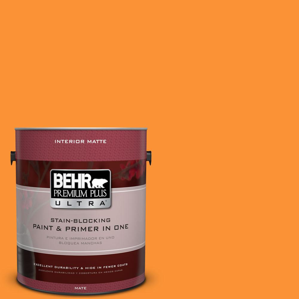 BEHR Premium Plus Ultra 1 gal. #P240-7 Joyful Orange Matte Interior Paint