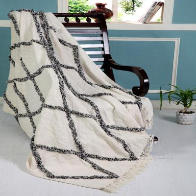 Soft Crossed 50 in. x 60 in. Black/White Decorative Throw Blanket