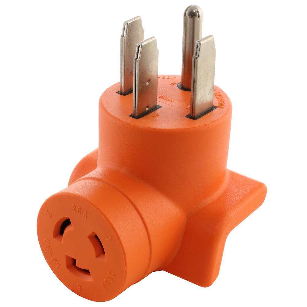 Locking Adapter 14-50P 50 Amp 125-Volt/250-Volt Range/RV/Generator Plug to L6-20R 20 Amp 250-Volt Connector