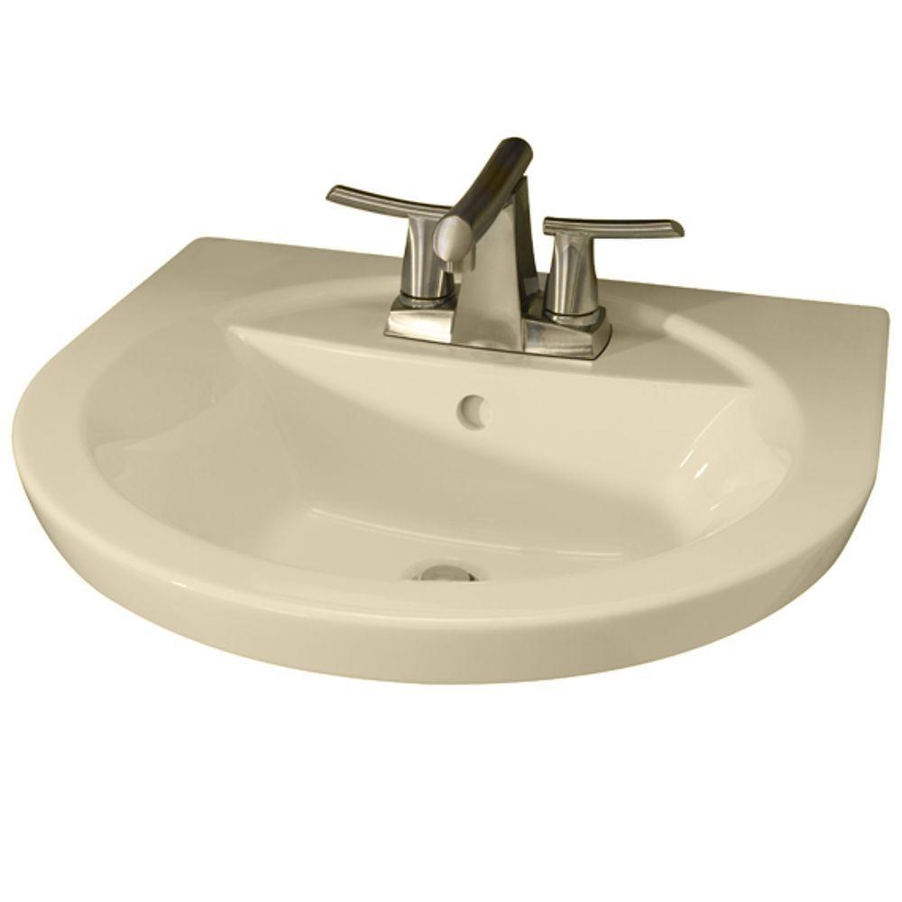 American Standard Tropic Petite 5-1/2 in. Pedestal Sink Basin with 4 in. Center in Bone-DISCONTINUED