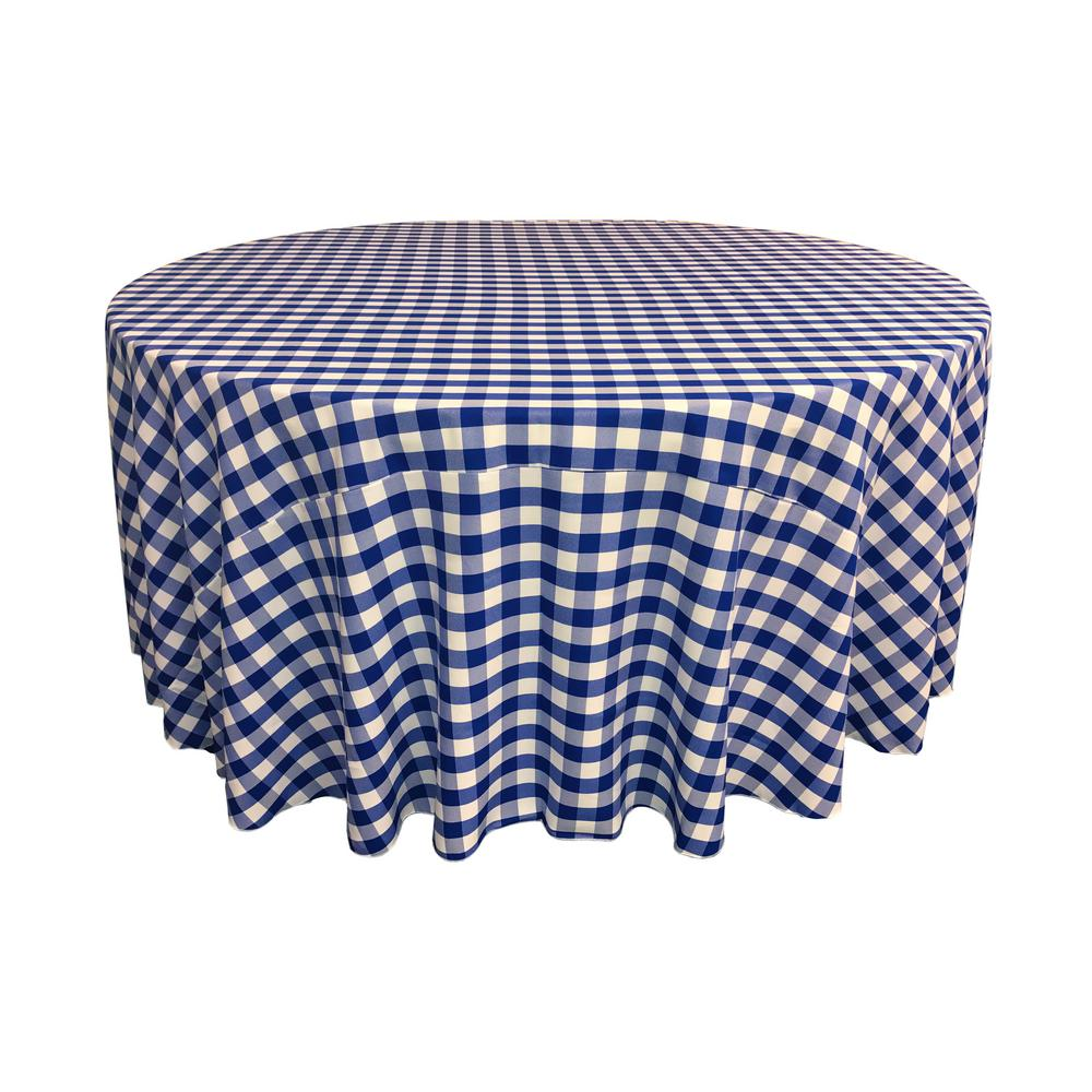 LA Linen 120 In. White And Royal Blue Polyester Gingham Checkered Round  Tablecloth