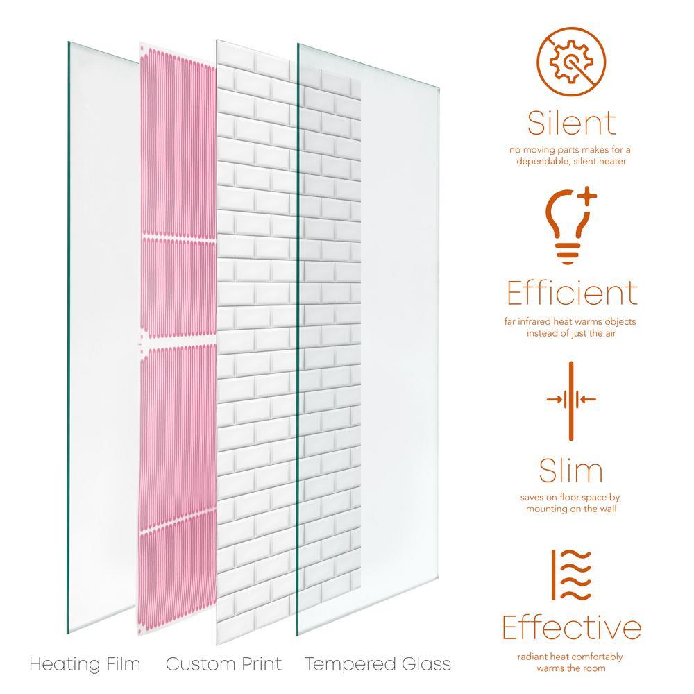 Glass Heater 500-Watt Radiant Wall Hanging Decorative Glass Heat Panel - Mur Metropolitan