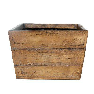 18 in. Square Cast Stone Faux Wood Mailbox Farmhouse Planter in a Weathered Wood Brown