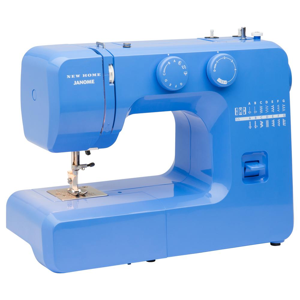 Blue Couture Easy-To-Use Sewing Machine Fun Colors. Serious Sewing. Experience the fun of sewing with the Janome Blue Couture sewing machine. The Janome Blue Couture easy-to-use sewing machine was designed with beginners in mind. It includes an easy-to-follow Instruction Manual, Quick Start Guide and YouTube video tutorials. This vibrant sewing machine also has a built-in bobbin loading guide thats impossible to miss, and is easily found within sight of the bobbin loading area. Boasting convenient features like 15 of the most popular and versatile built-in stitches, a four-step buttonhole, adjustable stitch length and a front-loading bobbin system, this sewing machine will be one you can grow into. Dont let the fun colors fool you, this full-sized sewing machine also has an interior heavy duty metal frame, dual retractable spool pins, and four presser feet. The Janome Blue Couture sewing machine is versatile, so you can tackle projects like garment sewing, home decor, quilting and even heirloom projects with ease.