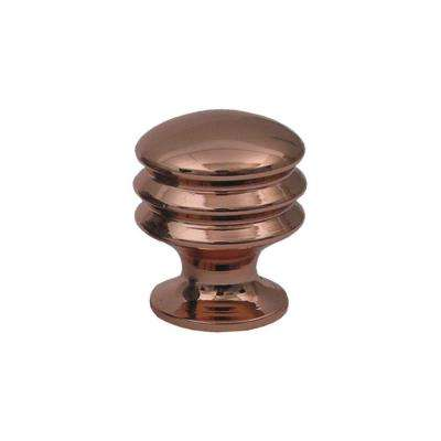 1 in. Polished Copper Solid Brass Round Knob