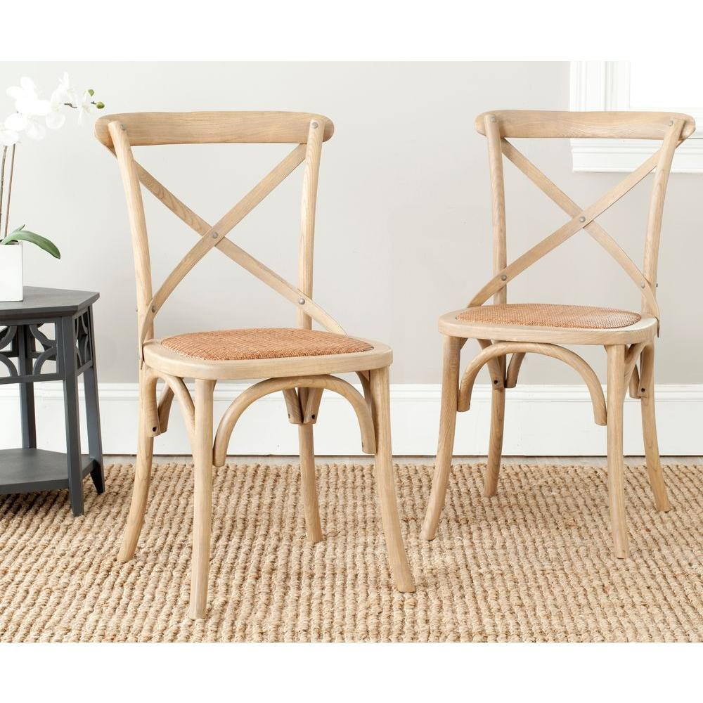 Safavieh Franklin Weathered Oak Rattan X Back Dining Chair (Set of 2 ...