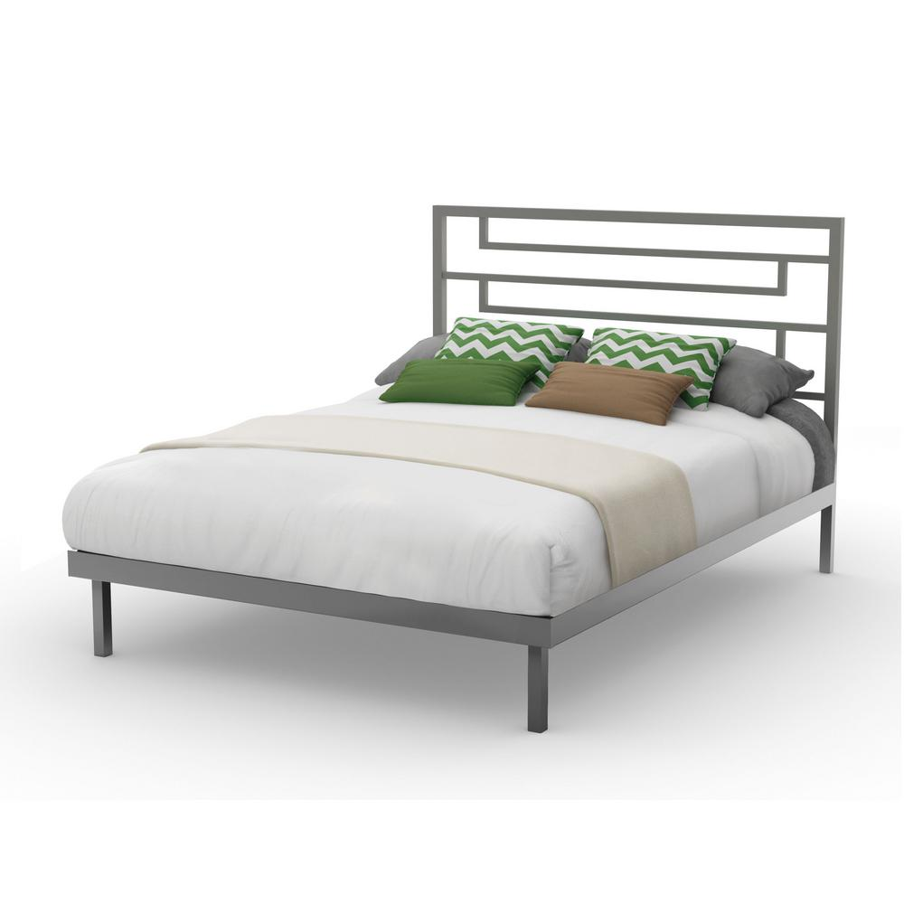 Temple Grey Metal Full Size Platform Bed