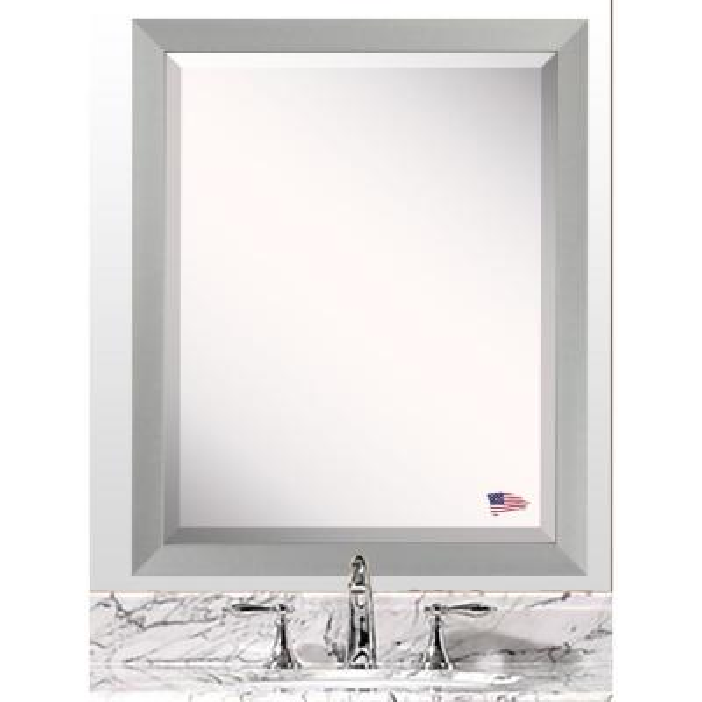 32.5 in. x 28.5 in. Juliet Soft Silver Beveled Vanity Wall Mirror