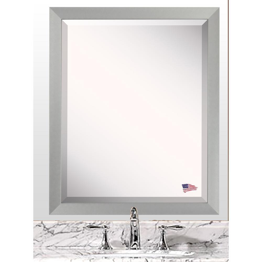 30.5 in. x 36.5 in. Juliet Soft Silver Beveled Vanity Wall Mirror
