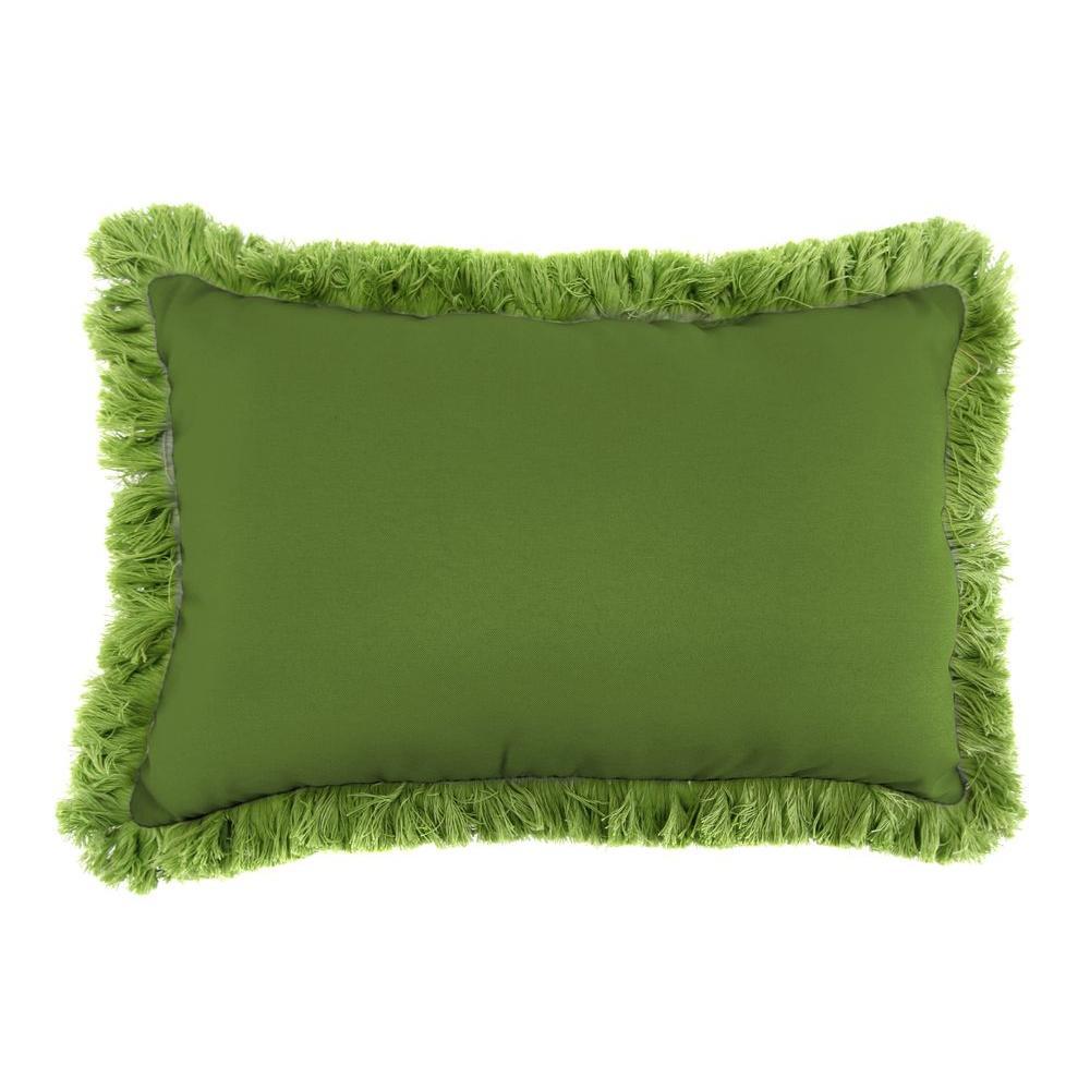 Sunbrella 9 in. x 22 in. Spectrum Cilantro Lumbar Outdoor Pillow with Gingko Fringe