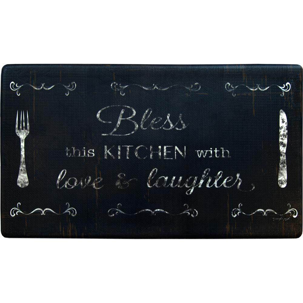 Home Dynamix Cook N Comfort Bless This Kitchen Multi 19.6 in. x 35.4 in. Kitchen Mat