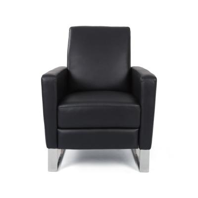 Brightwood Black and Silver Faux Leather Push Back Recliner