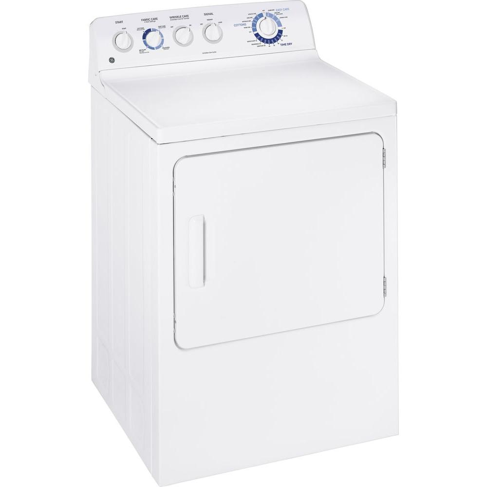 GE 7.0 cu. ft. Gas Dryer in White, White On White The latest line of GE washers & dryers offers the ultimate in laundry performance and convenience. With energy-efficiency and water-savings at the top of the list, GE has created large-capacity washer and dryer products that not only clean your clothes with a gentle touch, but also give you more space for big (and therefore fewer!) loads. For each washer, get a matching GE gas dryer. Features on our newest dryers help dry clothing quickly, yet gently, saving on fabric wear and tear. Faster dry cycles can save you time! Color: White on White.