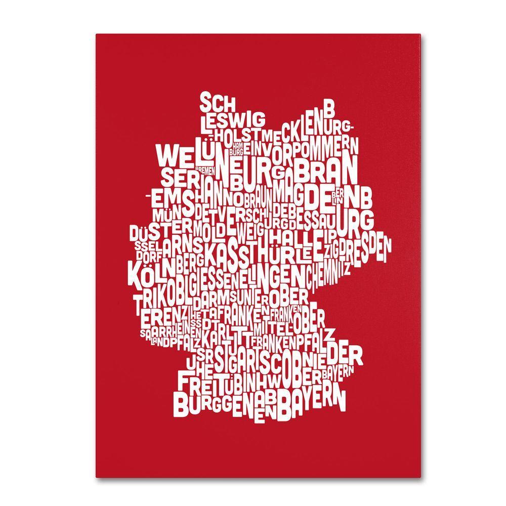 30 in. x 47 in. Germany Regions Map Canvas Art