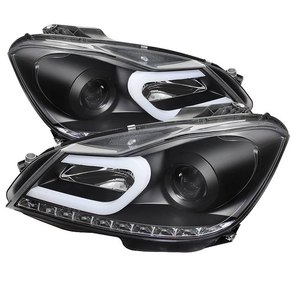 Spyder Auto Mercedes Benz W204 C-Class 12-13 Projector Headlights - Halogen  Model Only - DRL - Black