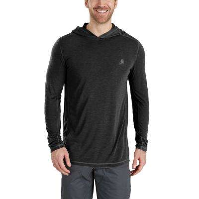 Men's Medium Black Heather Polyester/Cocona Force Extremes Hooded Pullover Shirt