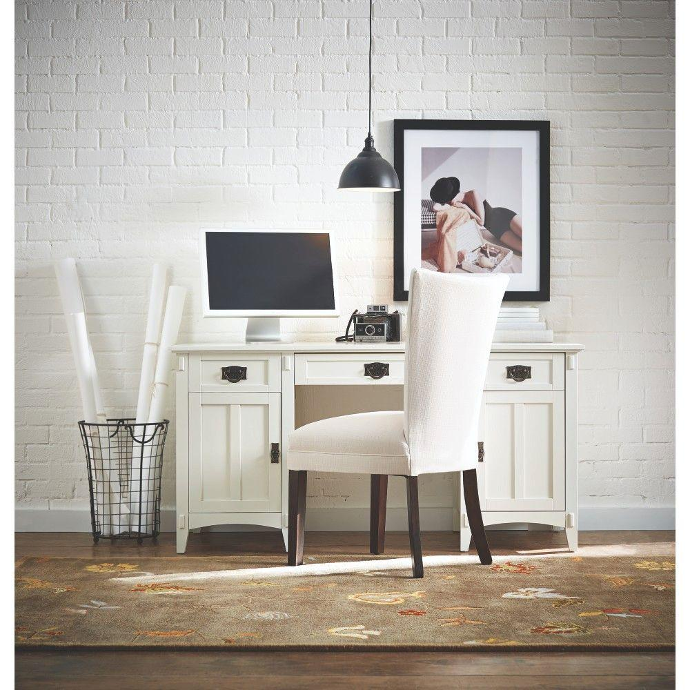 Artisan White Secretary Desk With Storage