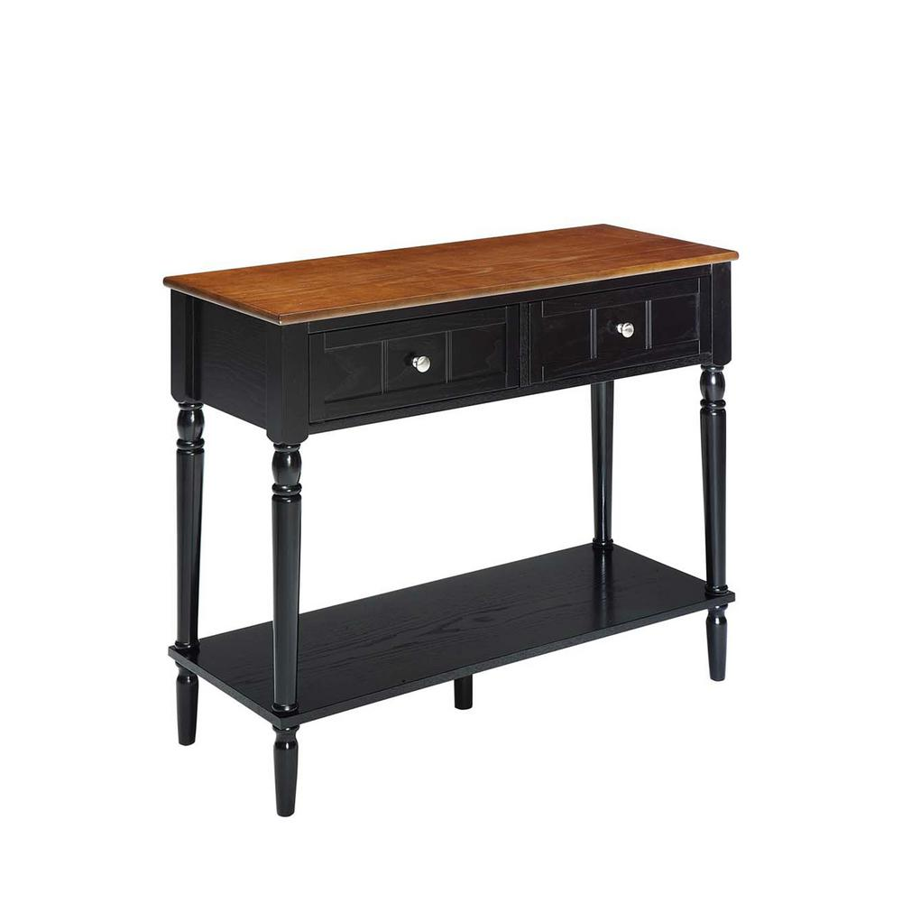 French Country Dark Walnut and Black 2-Drawer Hall Table