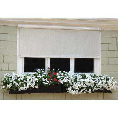 144 in. W x 84 in. L Cream with Hand Crank and Full White Cassette Horizontal Exterior Roll Up Shade