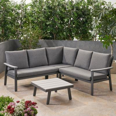 Noble House Sinclair Grey 4-Piece Aluminum with Faux Wood Accents Patio Conversation Sectional Seating Set with Dark Grey Cushions