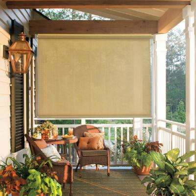 96 in. W x 72 in. L Beige Cordless True to Size Light Filtering Exterior Roller Shade with UV Protection Fabric