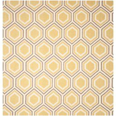 dhurries ivoryyellow 8 ft x 8 ft square area rug