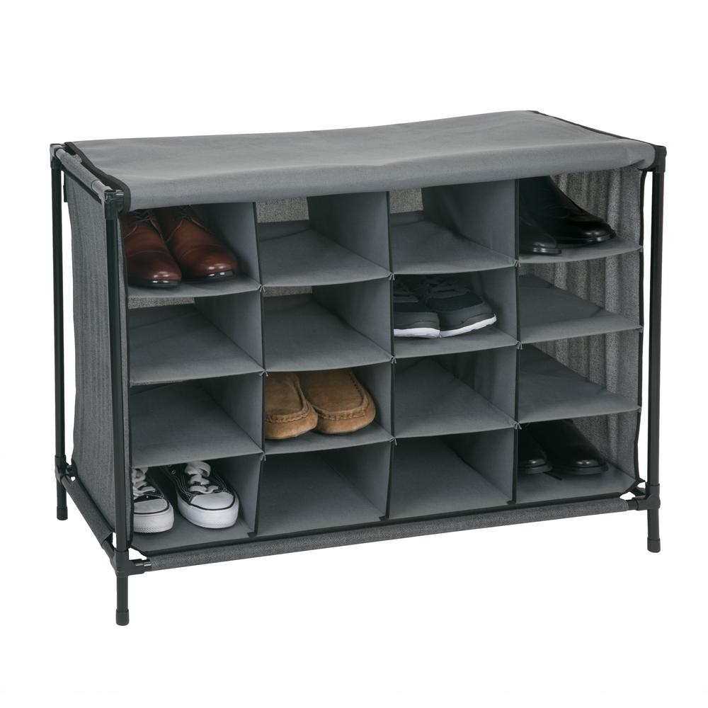 14 in. x 33 in. x 24 in. 16 Compartment Grey Shoe Cubby, ...