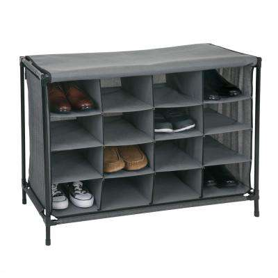 14 in. x 33 in. x 24 in. 16 Compartment Grey Shoe Cubby