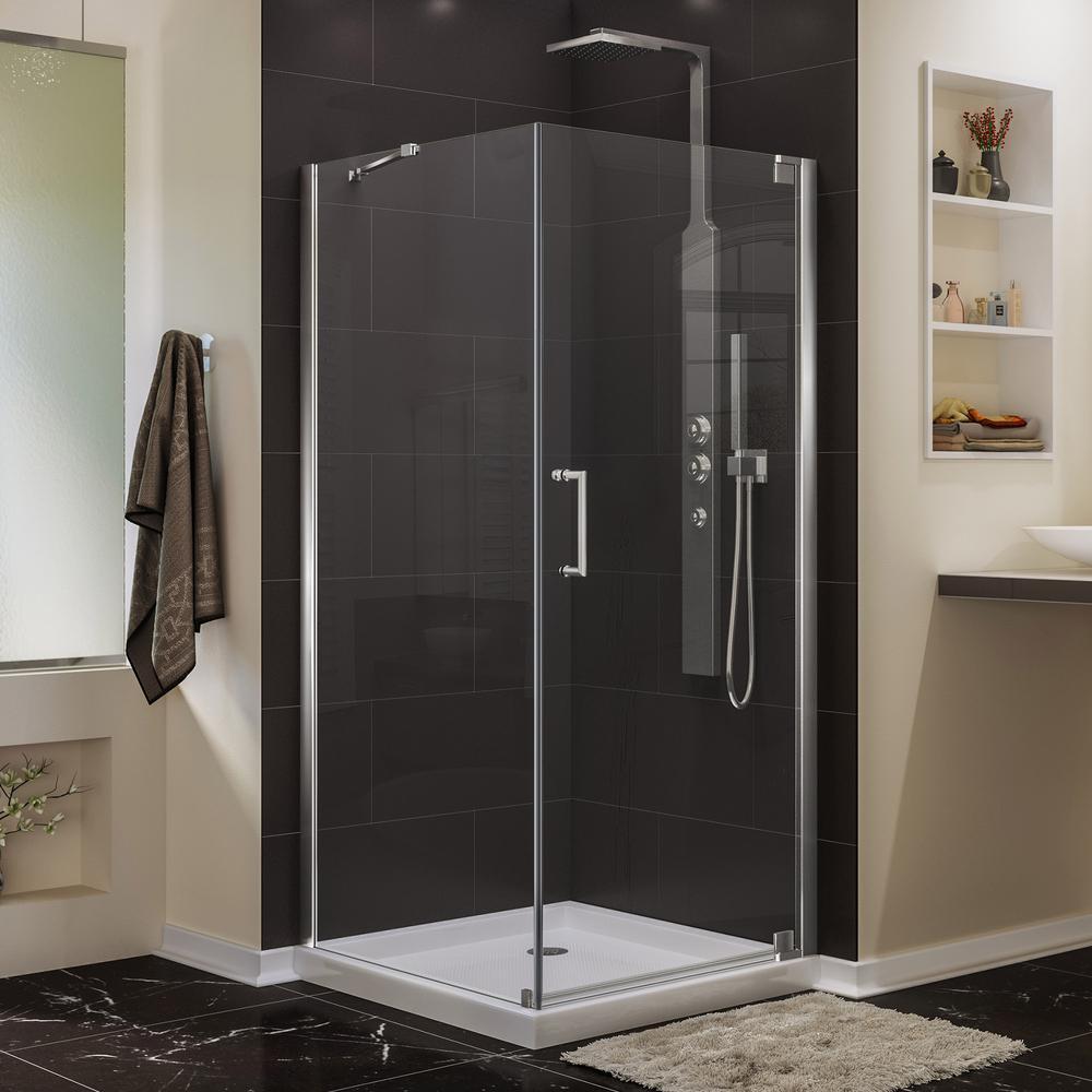 Elegance 30 in. D x 30 in. W x 72 in. H Semi-Frameless Pivot Corner Shower Enclosure in Chrome