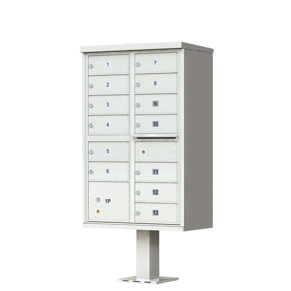 13 Mailboxes 1 Outgoing Mail 1 Parcel Locker Pedestal Mount Cluster