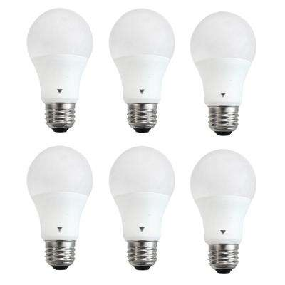 60-Watt Equivalent A19 LED Light Bulb E26 Base Deco White 3500K (6-Pack)
