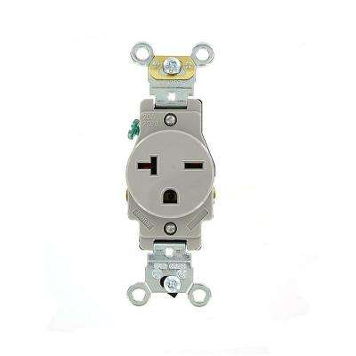 20 Amp Industrial Grade Heavy Duty Self Grounding Single Outlet, Gray