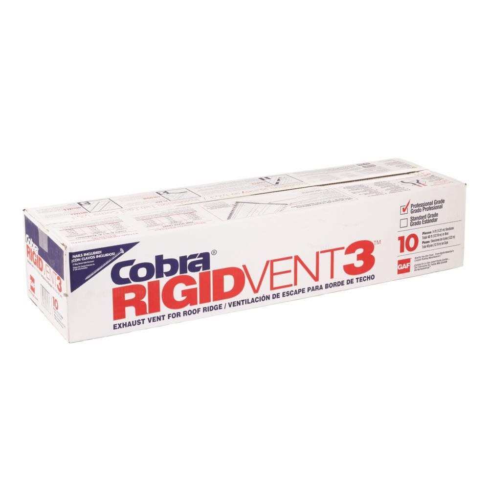 Cobra Rigid Vent 3 - 11.5 in. x 48 in. Roof Ridge Exhaust Vent in Black, Case