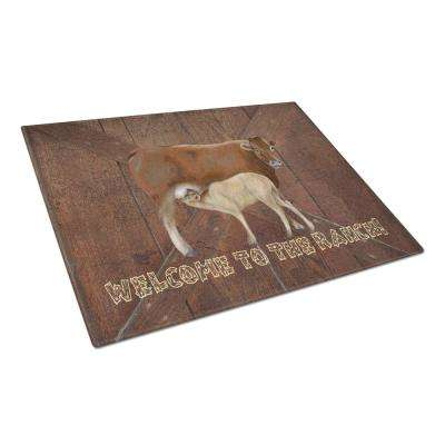 Welcome to the Ranch with the Cow and Baby Tempered Glass Large Cutting Board