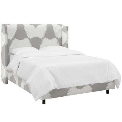 Feather Deco Grey Queen Wingback Bed