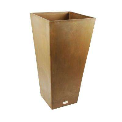 Midland 16 in. Square Bronze Tall Plastic Planter