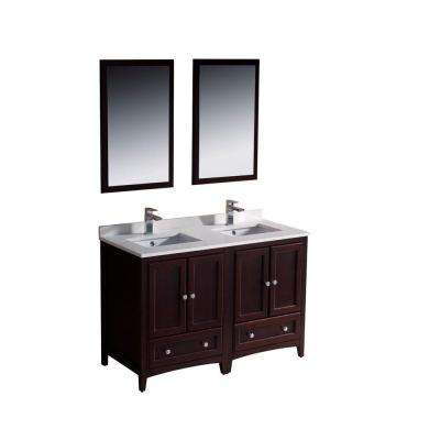 Oxford 48 in. Double Vanity in Mahogany with Ceramic Vanity Top in White with White Basins and Mirror
