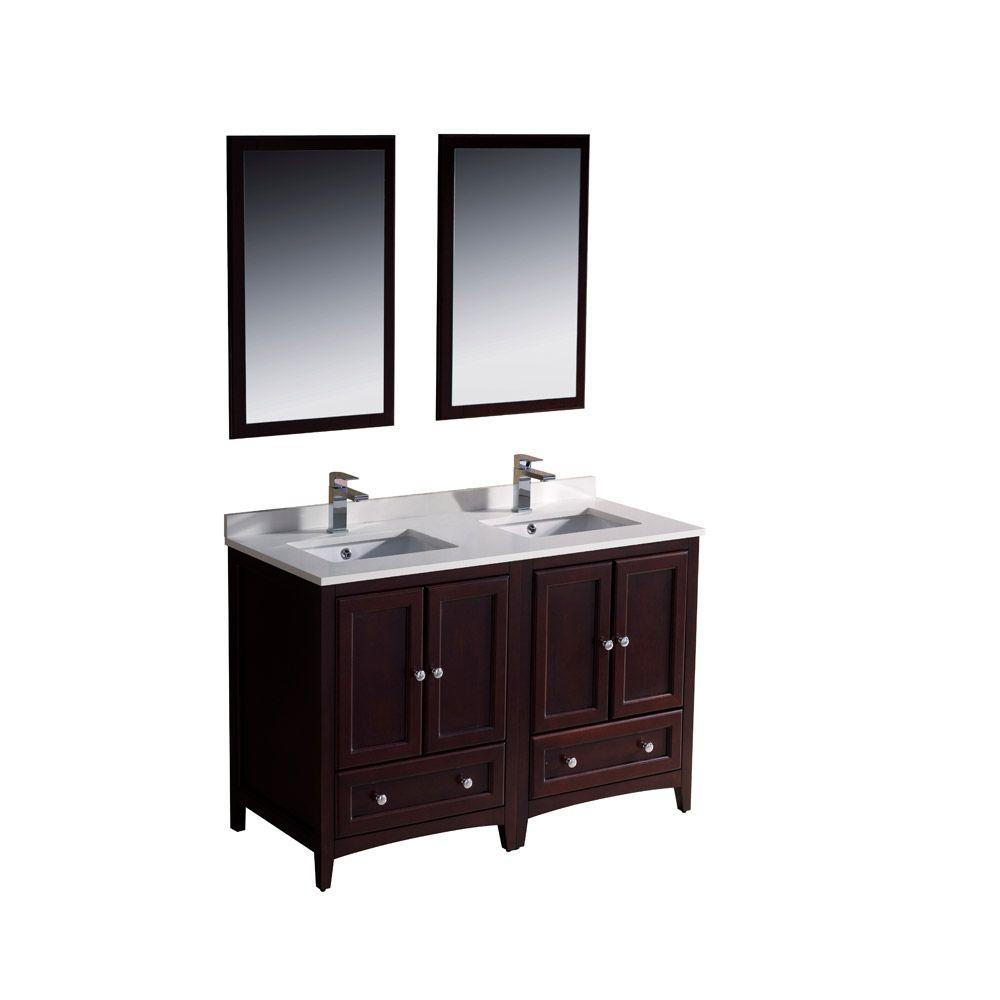 fresca oxford 48 in double vanity in mahogany with ceramic vanity top in white with white. Black Bedroom Furniture Sets. Home Design Ideas