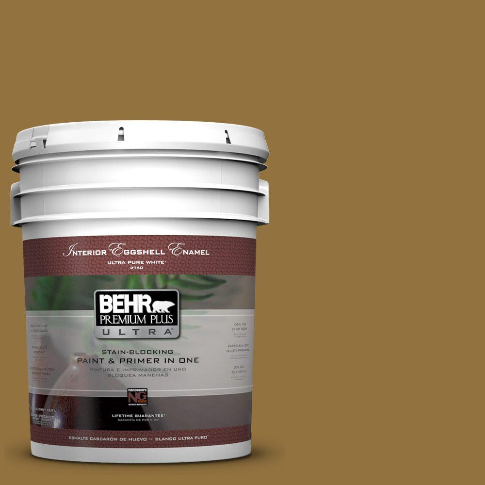 BEHR Premium Plus Ultra 5-gal. #350D-7 Cattail Brown Eggshell Enamel Interior Paint