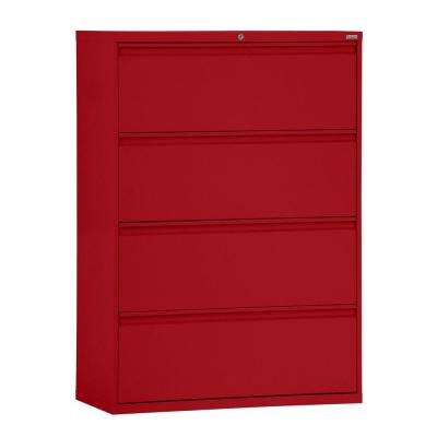 800 Series 42 in. W 4-Drawer Full Pull Lateral File Cabinet in Red