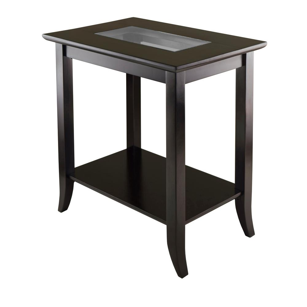 Winsome wood genoa espresso glass top end table