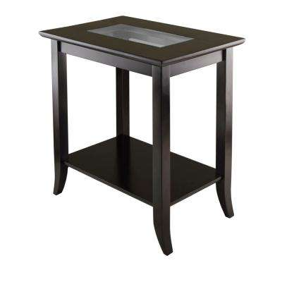 Genoa Espresso Glass Top End Table